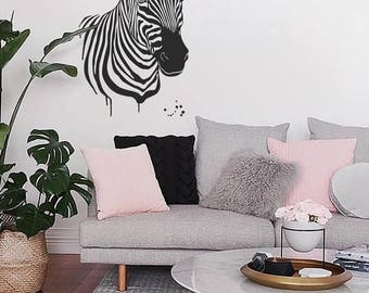 Zebra wall vinyl decal home nursery child kids room office wall decor animal decal wall sticker