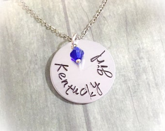 Kentucky Girl - state jewelry - personalized KY necklace