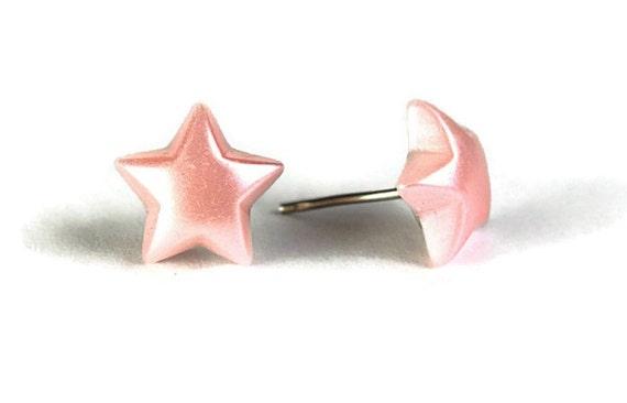 Pastel pink star stud earrings (265)