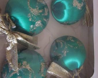 eight vintage Satin Sheen Christmas orniments