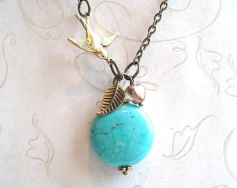 Turquoise necklace, brass bird charm, gift for her, tiny leaf charm, turquoise bead