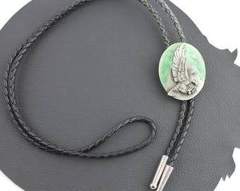 Eagle Bolo Tie Green Enamel & Silver Metal Eagle on Black Leather Cord and Silver Aglets