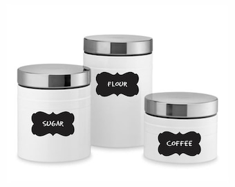 Canister Labels Front Page - Scroll Frame Black & White - Fancy Scroll Labels - Chalkboard Stickers