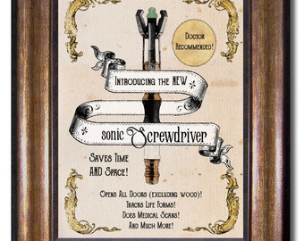 Doctor Who - Sonic Screwdriver Vintage Style Print - Multiple Sizes 5x7, 8x10, 11x14, 16x20, 18x24, 20x24, 24x36