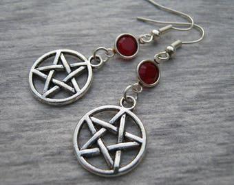 Pentacle Birthstone Earrings, Personalized Earrings, Pentacle Jewelry, Wiccan Gift, Wicca Earrings, Pagan Earrings, Witch Earrings