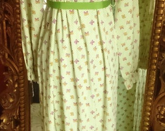 Vintage 1960's JC Penny Fashions Smocked Butterfly Maxi Dress