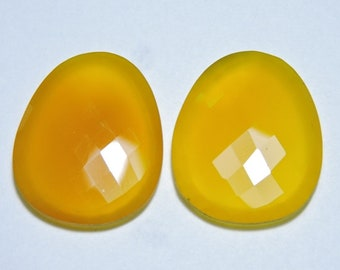 2 Pieces Very Beautiful Natural Yellow Chalcedony Faceted Irregular Shaped Loose Gemstone Size 30X27 MM