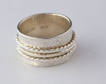 One Spinner Ring in Sterling Silver, Beach Sand Textured Spinner RIng, Shiny Spinner Ring