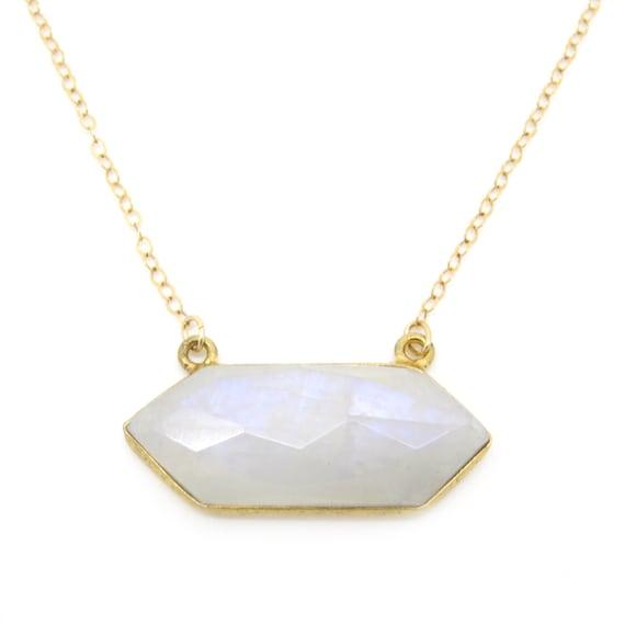 Hexagonal MoonstoneGold Necklace