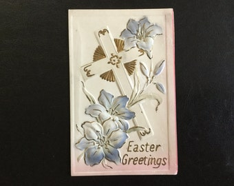 Half Price Sale Vintage Embossed Easter Postcard with a Cross and Easter Lillies