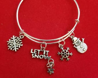 Silver Let It Snow Themed Charm Bracelet