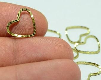 30 Pcs Raw Brass 12x13 mm Heart Findings