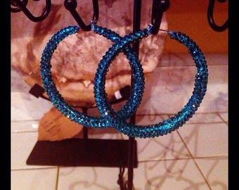 Medium Custom Handmade Turquoise Swarovski Crystal Hoops