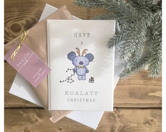 KOALA CARD // christmas card, funny card, holiday card, koala, koala bear, punny, pun card, bear card, christmas bear, cute card, christmas