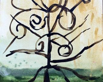 Original Tree Painting, Abstract Watercolor Painting, Abstract Painting, Watercolor Painting