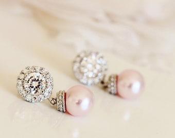 Blush Pink Pearl Earrings Wedding Jewelry Rose Pink Pearl Bridal Earrings Blush Bridesmaid Earrings Pink Wedding Bridesmaid Gift