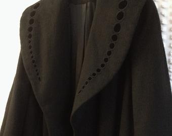Vintage Coat - 1980's Women's Long Black Winter Coat - Black Vintage Coat - 1980's Coat - Long Winter Coat - Black Coat - Wool Coat