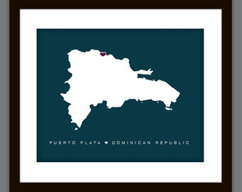 Personalized Dominican Republic Love Map Print