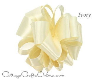 "Satin Ribbon, 5/8"" width, Ivory Double Sided - TWENTY YARD ROLL -  Offray  ""Ivory #810"" No. 3 Warm White Double Face Satin, Sewing Trim"