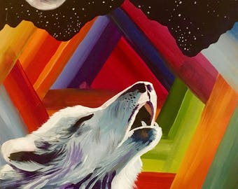 """A4 Print on glossy paper """"technicolour wolf in the moonlight"""""""