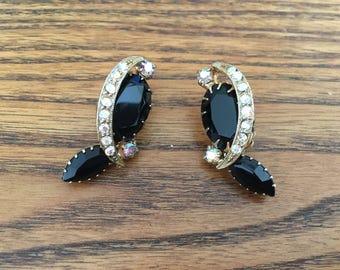 Vintage Black and AB Clear Rhinestone Earrings - Weiss? 1011