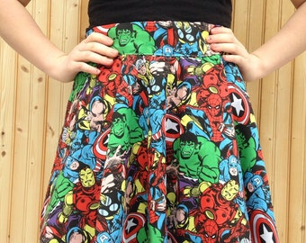 Marvel Comic Circle Skirt, Marvel Clothing, Marvel Outfit