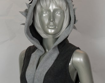 Grey Wolf Cropped Hood
