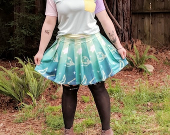 Kawaii Space Bunneh Pleated Mini Skirt
