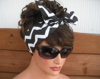 Womens Headband Dolly Bow Headband Retro Summer Fashion Accessories Women Head scarf Headwrap in Black and White Chevron