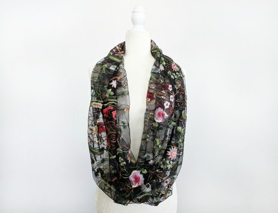 Floral Embroidered Infinity Scarf