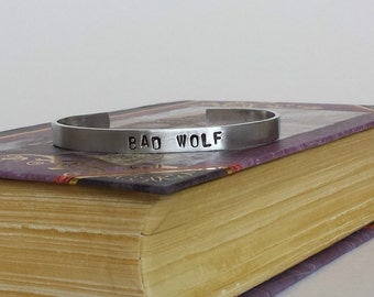 BAD WOLF - Doctor Who Inspired Aluminum Bracelet Cuff - Hand Stamped
