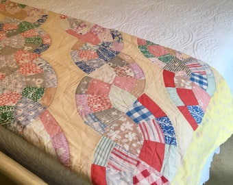 Old Country Quilt - Cotton Twin Queen - Farmhouse Quilt - Patchwork - Shabby Chic Country Cottage