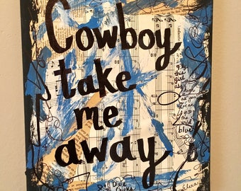 Dixie Chicks Art Music Blue Country Music Teacher Gift Singer Musician Collage Recycled Song Lyrics Painting Present Cowboy ART PRINT