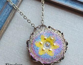 Czech Art Glass Button Necklace, Made From Vintage Molds, Geometric Floral Design, Yellow Pink, Iridescent, Antique Brass, Timeless Trinkets