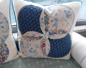 Blue Patchwork pillow cover