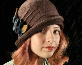 Cloche Hat in Light Brown Felted Wool w/Blossom Cluster - Wool Felt Cloche - 1920's Style Cloche