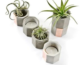 Concrete Copper Hexagon Cup, Geometric Concrete Tea Light Candle or Air Plant Holder, modern hygge gift, minimalist beton decor, hand cast