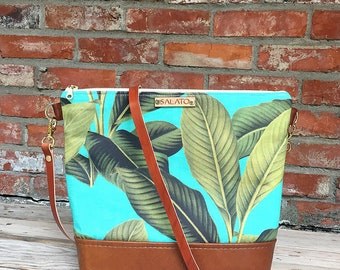 Palm Leaf Crossbody - Leather Crossbody Bag - Leather Crossbody - shoulder Purse - Leather Crossbody Purse - Leather Purse - Crossbody Purse