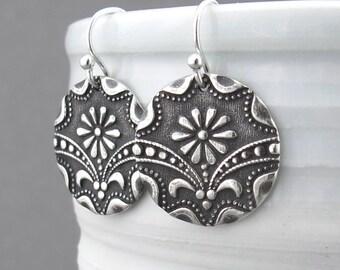 Art Deco Sterling Silver Earrings Silver Flower Earrings Silver Dangle Earrings Art Deco Jewelry Daisy Earrings