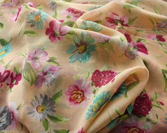 "Vintage Fabric Sheer Silk Chiffon Floral Flowers 36"" x 3.44 Yards"