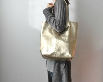 EMMA BAG (LARGE) Borsa in pelle platino, borsa extra large, borsa pelle, borsa oro, shopper in pelle, borsa metallizzata, shopper dorata