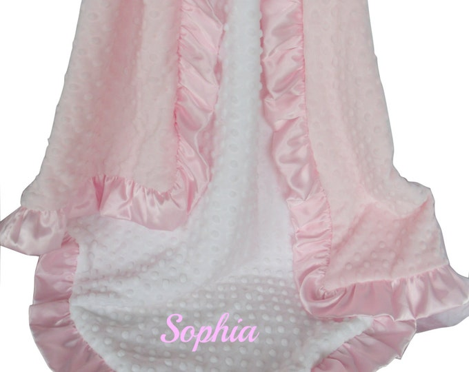 Pink and White Minky Baby Blanket - White and Pink Minky Dot with Matching Satin Ruffle, available in three sizes