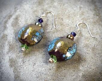 Large disc earrings - ethnic disc earrings Gypsy long earrings - hippie long earrings - long ethnic earrings - forest girl jewelry mori girl