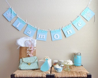 Banners, Bunting, I am one, High chair banner, Nursery Banner, Frozen Ice theme, Snowflake theme, Name Banner,