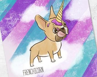 Unicorn Card | French Bulldog Card | Funny Birthday Card | Magical Unicorn Card | Frenchie Card