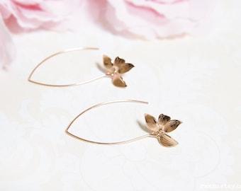 Rose gold orchid earrings, bridesmaid gift long dangle earrings, modern everyday earrings, rose gold flower bridal earrings girlfriend gift