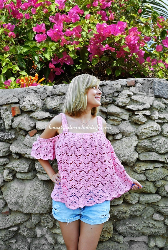 Crochet Pattern Pdf Off The Shoulder Crochet Top Crop Top Plus