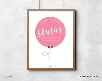Balloon Printable - personalised birth announcement wall art - Nursery Print - Birth Details - Baby Personalised Print - DIGITAL FILE