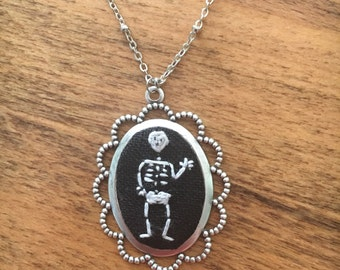 Skeleton - hand embroidered necklace, nightmare before christmas, halloween