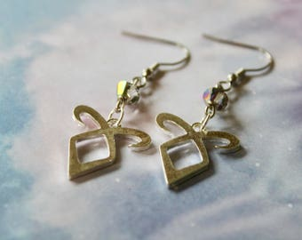 Angelic Power Rune Dangle Earrings, Shadowhunters, The Mortal Instruments, Swarovski Crystals, The Infernal Devices, The Dark Artifices,